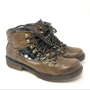 Manas Brown Leather Hiking Lace Up Boots Size 5